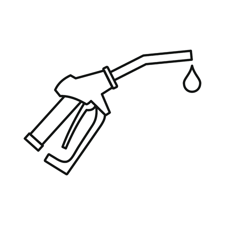 Fuel gun icon. Black outline illustration of Fuel gun vector icon for web isolated on white background Banco de Imagens - 87336502