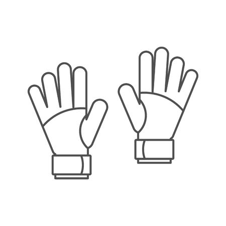 Torwarthandschuh-Symbol. Umreißen Sie Illustration von Torhüterhandschuhen-Vektorikone für das Netz, das auf weißem Hintergrund lokalisiert wird Standard-Bild - 87286151