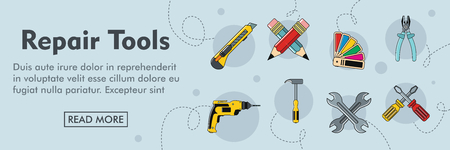 Repair tools horizontal banner. Repair tools vector illustration in cartoon style for web