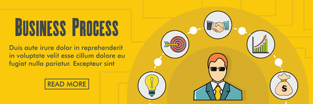 Business process horizontal banner. Business process vector illustration in flat style for web