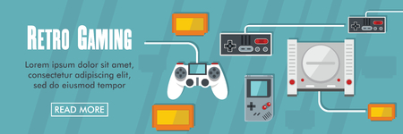 Retro games horizontal banner. Retro games vector illustration in flat style for web Çizim