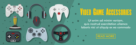 Video game accessories horizontal banner. Video game accessories vector illustration in flat style for web