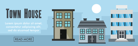 residential homes: Town house horizontal banner. Town house vector illustration in flat style for web