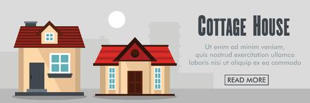 Cottage house horizontal banner. Cottagehouse vector illustration in flat style for web Illustration