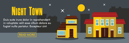 residential homes: Night town horizontal banner. Night town vector illustration in flat style for web
