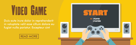 Video game horizontal banner. Video game vector illustration in flat style for web Çizim