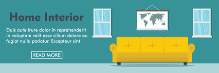 windows frame: Home interior horizontal banner. Comfort interior vector illustration in flat style for web