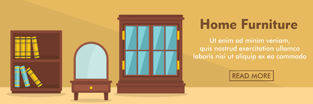 windows frame: Home furniture horizontal banner. Home furniture vector illustration in flat style for web Illustration
