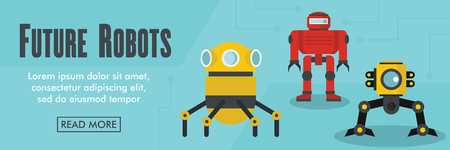 Future robots horizontal banner. Future robots vector illustration in flat style for web