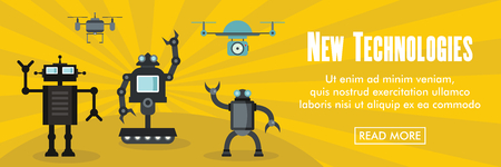 New technologyes horizontal banner. New technologyes robots vector illustration in flat style for web