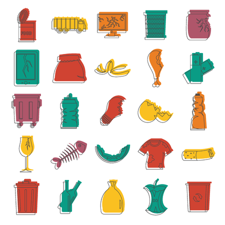Garbage doodle icons set vector illustration for design and web isolated on white background.
