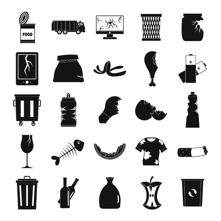 Garbage silhouette icons set vector illustration for design and web isolated on white background.