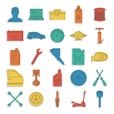 Auto service with tools and car doodle icons set vector illustration for design and web isolated on white background.