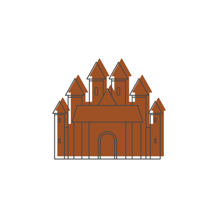 Medieval knight castle with fortified wall and towers icon.
