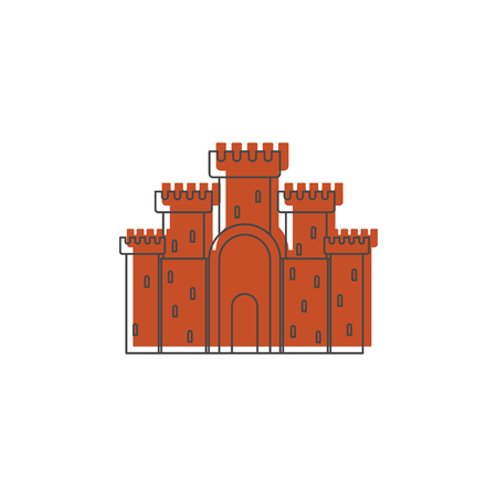 Medieval stone castle with fortified wall and towers icon. Doodle illustration of Medieval castle vector icon for web isolated on white background Illustration