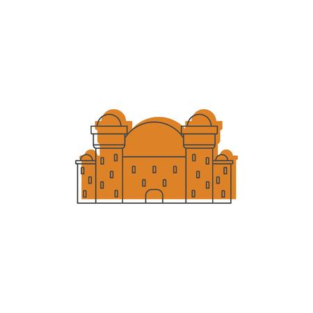 Château de chevalier médiéval avec icône mur et tour fortifiée.