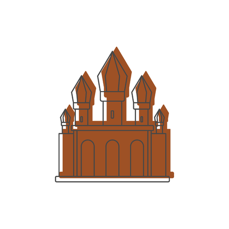 Medieval knight castle with fortified wall and towers icon. Doodle illustration of Medieval castle vector icon for web isolated on white background