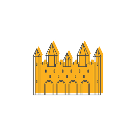 Medieval royal castle with fortified wall and towers icon. Doodle illustration of Medieval castle vector icon for web isolated on white background