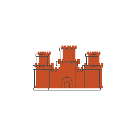 Medieval knight bastion with fortified wall and towers icon. Illustration