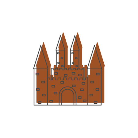 Medieval kingdom castle with fortified wall and towers icon.