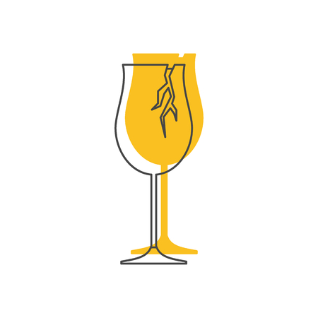 Broken wine glass icon. Illustration