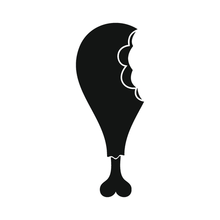 Chicken leg icon. Silhouette illustration of chicken leg vector icon for web Ilustração