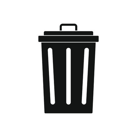 Trash bin icon. Silhouette illustration of trash bin vector icon for web on white background