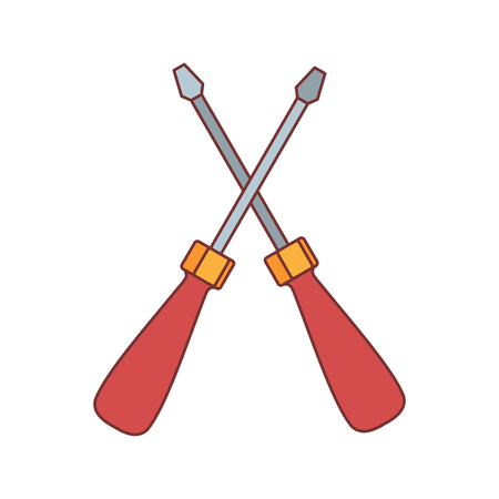 chrome: Screwdrivers icon. Cartoon illustration of Screwdrivers vector icon for web isolated on white background