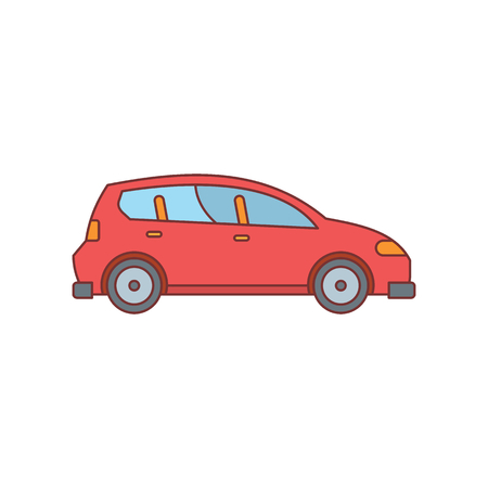 Red car icon. Doodle illustration of car vector icon for web isolated on white background