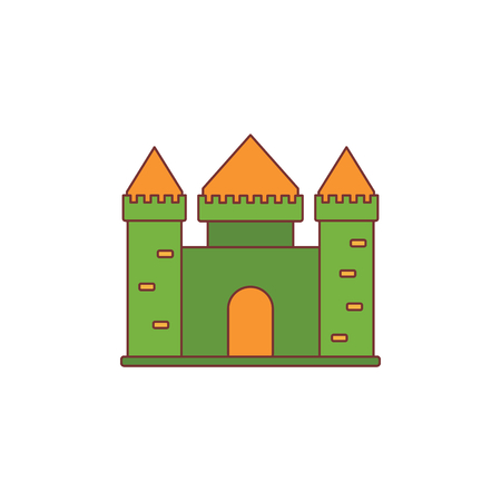 Medieval kingdom with fortified wall and towers icon