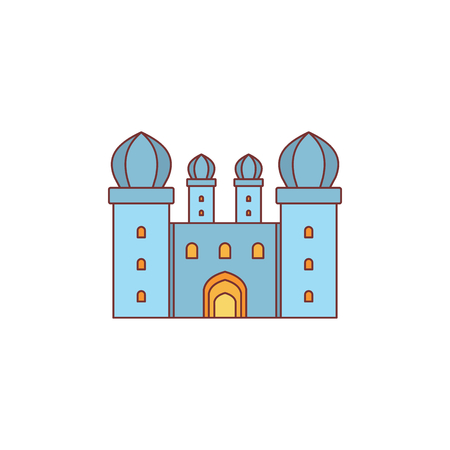 Medieval knight citadel with fortified wall and towers icon