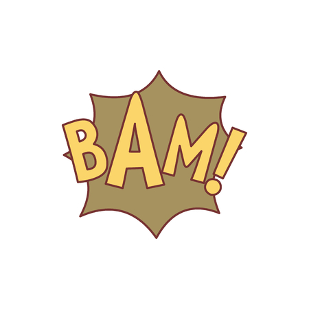 Comic speech bubble with expression text BAM. Comic speech bubble color cartoon vector illustration for games, cartoon, animation and web Illustration