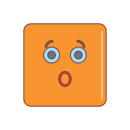 Bewildered emoticon face cartoon icon vector illustration for design and web isolated on white background. Vector emoticon. Orange emoticon face.