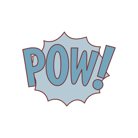 Comic speech bubble with expression text POW. Comic speech bubble color cartoon vector illustration for games, cartoon, animation and web