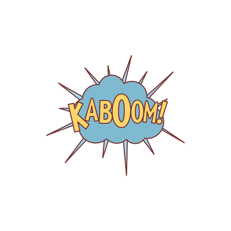 Comic speech bubble with expression text KABOOM. Comic speech bubble color cartoon vector illustration for games, cartoon, animation and web