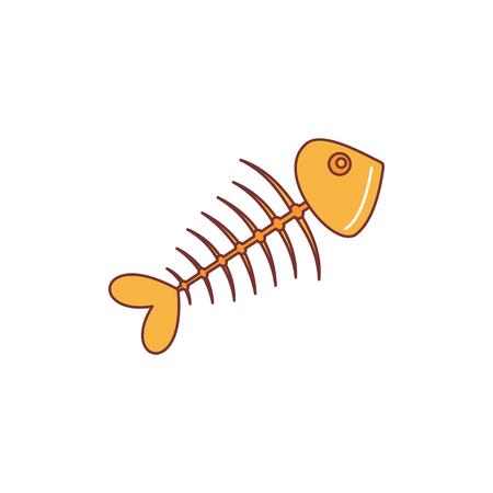 Fish bone icon. Cartoon illustration of fish bone vector icon for web isolated on white background.