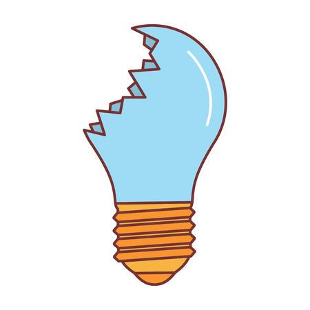 Gebroken lamppictogram. Beeldverhaalillustratie van gebroken lamp vectorpictogram voor Web dat op witte achtergrond wordt geïsoleerd. Vector Illustratie