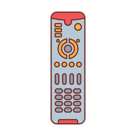Afstandsbediening voor TV of media center cartoon pictogram vectorillustratie voor ontwerp en web geïsoleerd op een witte achtergrond. Afstandsbedieningsvectorobject voor etiketweb en reclame