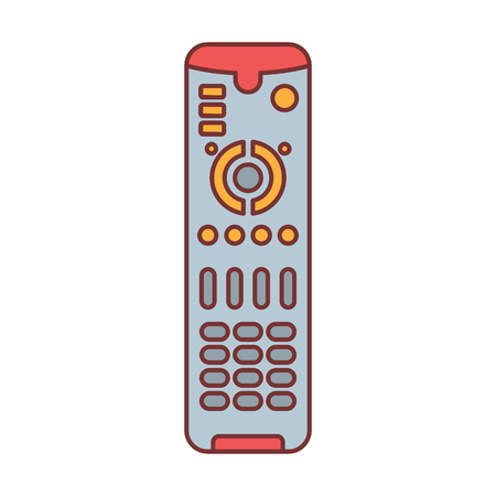 Remote control for TV or media center cartoon icon vector illustration for design and web isolated on white background. Remote control vector object for label web and advertising Ilustração