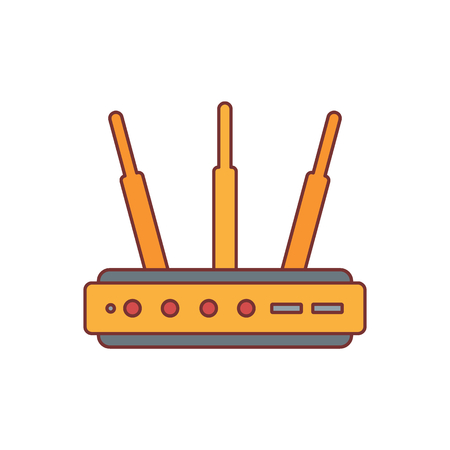 Router cartoon icon vector illustration for design and web isolated on white background. Router Wi Fi vector object for label web and advertising Illustration