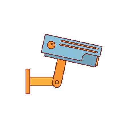 Surveillance camera cartoon pictogram vectorillustratie voor ontwerp en web geïsoleerd op een witte achtergrond. Surveillance camera vector-object voor label web en reclame