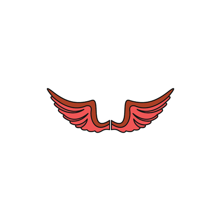 Red wing cartoon icon for your design labels wing graphic and vector illustration