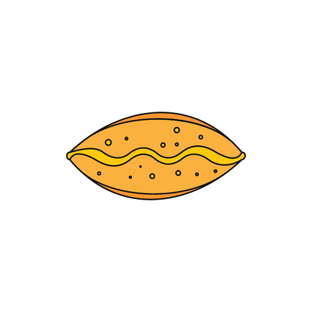Pie colorful bakery product cartoon icon. Vector illustration of pie product isolated on white background.