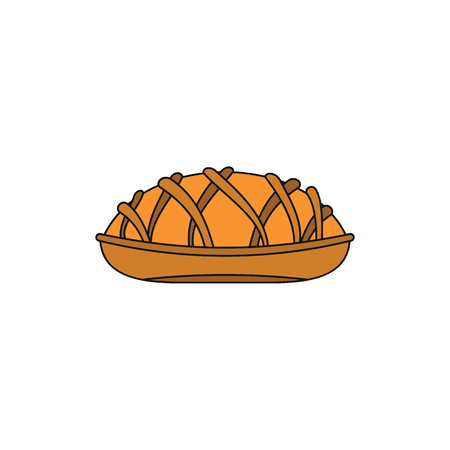 Pie colorful bakery product cartoon icon.