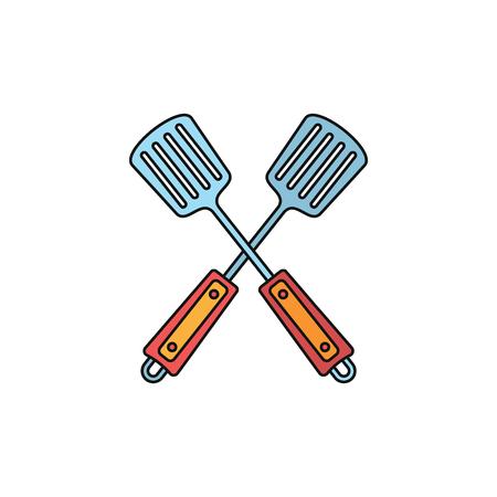 Crossed Spatula grill cartoon icon.
