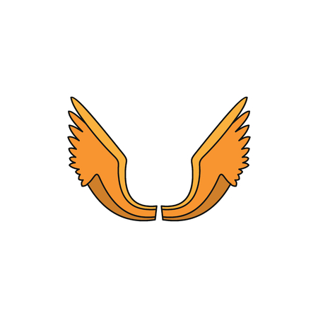 Orange wing cartoon icon for your design labels.