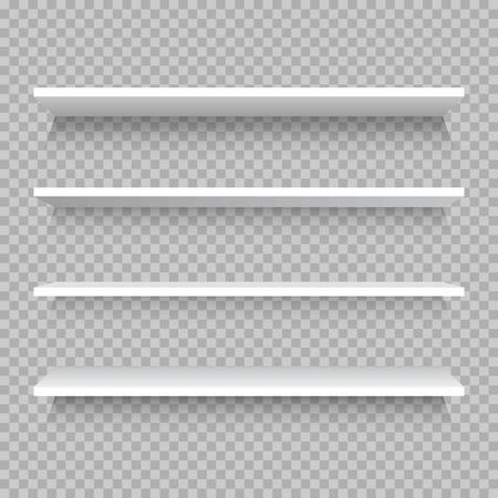 빈 흰색 상점 선반, 합판 프레임에서 소매 선반입니다. 현실적인 벡터 책장 사각형, 3d 저장 벽 바둑판 무늬 배경에 그림 표시 일러스트