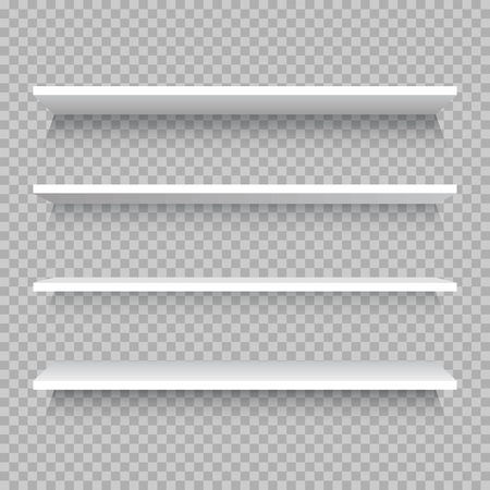 Empty white shop shelf, retail shelves from plywood frame. Realistic vector bookshelf rectangle, 3d store wall display illustration on checkered background Illustration