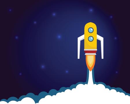 Fired up space cartoon rocket, modern booster. Shuttle launch creative startup vector neon background. Launch rocket ship, start up spaceship and business shuttle vector illustration