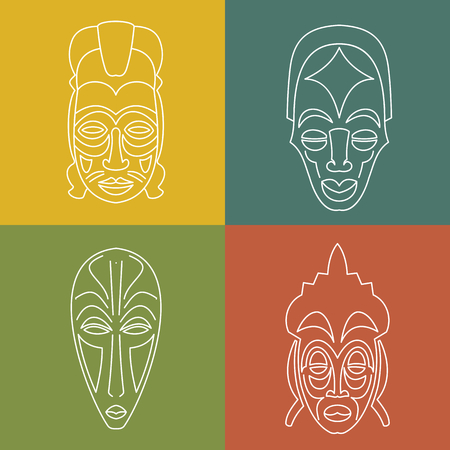 Set of African Ethnic Tribal masks on colour background. . White line icons. Ritual symbols.